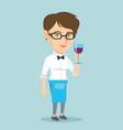caucasian waitress holding a glass of wine vector image vector image