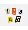 Colorful Newspaper Cut Numbers Set vector image vector image