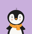 cute penguin in scarf poster for baroom vector image