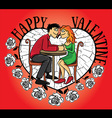 dating young couple Valentine postcard with flower vector image vector image