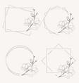 doodle line art magnolia blooming flower minimal vector image