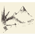 Drawn landscape mountain lake fir forest vector image vector image