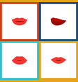 flat icon lips set of kiss lips lipstick and vector image vector image