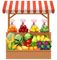 fresh fruit on wooden stall vector image vector image