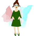 girl hipster in glasses and green dress vector image