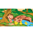 Girl meets ducklings vector image vector image