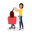 Hairdresser making haircut Hair stylist in a vector image vector image