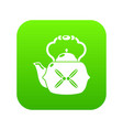 kettle vintage icon green vector image vector image