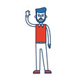 man character standing waving hand vector image