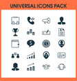 management icons set with pile call speaker and vector image vector image