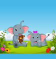 natural view with the two elephant playing vector image vector image