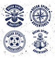 nautical set vintage emblems or badges vector image