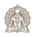 ornament beautiful card with yoga man vector image vector image