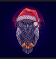 owl in santa claus hat with background pine vector image vector image