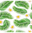 palm leaves and flowers seamless background vector image vector image