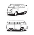 retro bus camping car view from different angles vector image