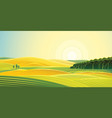 rural landscape fields and hills at dawn vector image