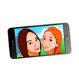 selfie girls on screen vector image vector image