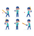 set boy cricket player playing with a ball vector image vector image