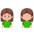 set of brunette girl character vector image vector image