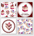 set vintage cards with cake strawberry vector image vector image