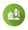 small house with garden green flat design long vector image