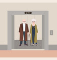 smiling old man and woman with canes standing in vector image vector image