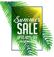 summer sale banner with green tropical leaves vector image vector image