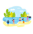 summer time family vacation children on beach vector image vector image