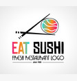 sushi restaurant flat style logo design for food vector image