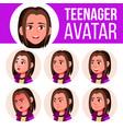 teen girl avatar set face emotions head vector image vector image