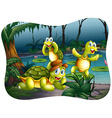 Three turtles living by the pond vector image vector image