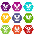 tin opener icons set 9 vector image vector image