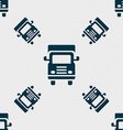 Transport truck icon sign Seamless pattern with vector image vector image