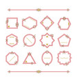 trendy red and golden empty and blank line emblems vector image vector image