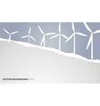 background with torn paper and windmills vector image