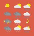 Flat color weather icons vector image
