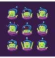 Alien In Ufo Emoji Set vector image