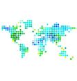 abstract world map green blue dots vector image