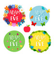 adam and eve banners with flowers leaves vector image