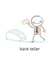 bank teller with the apparatus vector image vector image