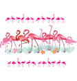 border with flamingoes and tropical leaves vector image vector image