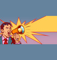 businessman with megaphone faded vintage picture vector image