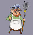 cartoon evil male janitor with a broom in hand vector image vector image