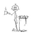cartoon of businessman overdosed by caffeine from vector image
