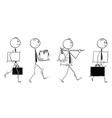 cartoon of men or businessmen leaving or moving vector image