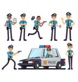 cartoon policewoman and policeman characters in vector image