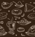 coffee beverage and desserts seamless pattern vector image