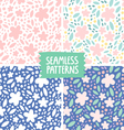 Collection of 4 floral colorful seamless patterns vector image