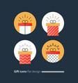 congratulations gift box perfect present prize vector image